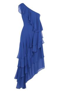 Шелковое платье асимметричного кроя с оборками Alice + Olivia 2645460