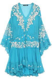 Шелковое мини-платье с оборками и вышивкой Roberto Cavalli 2645896