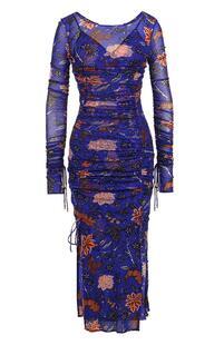 Драпированное платье-миди с цветочным принтом DIANE von FURSTENBERG 2602689