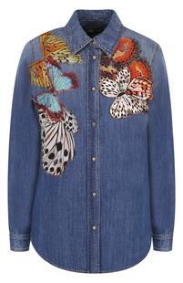 Джинсовая блуза с потертостями и отделкой в виде бабочек Roberto Cavalli 2594901