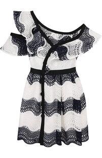 Приталенное кружевное платье-миди с открытым плечом Self Portrait 2586699