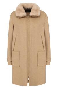 Кашемировое пальто свободного кроя с отделкой из меха норки Loro Piana 2537749