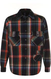 Шерстяная рубашка в клетку свободного кроя Missoni 2503673