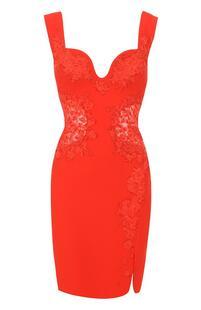 Приталенное мини-платье с кружевными вставками Roberto Cavalli 2434056