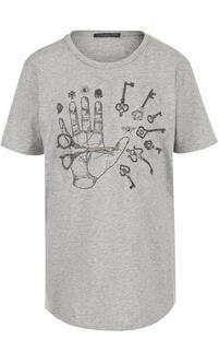 Хлопковая футболка с вышивкой и круглым вырезом Alexander McQueen 2391912
