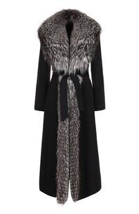 Шерстяное пальто с отделкой из меха лисы SIMONETTA RAVIZZA 2380977