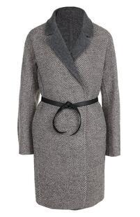 Шерстяное пальто с кожаным поясом Loro Piana 2358358