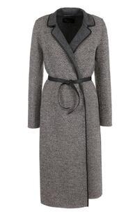 Шерстяное пальто с кожаным поясом Loro Piana 2357327
