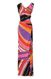 Приталенное платье-макси с разрезом EMILIO PUCCI 2276966