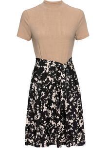 Трикотажное платье с контрастной юбкой bonprix 257056064