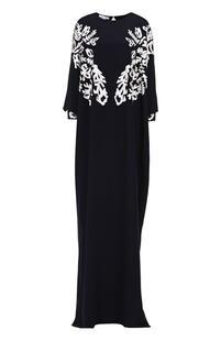 Шелковое платье-макси с контрастной кружевной отделкой Oscar de la Renta 2027227