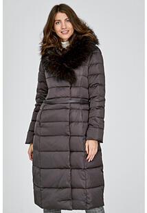 Пуховое пальто с отделкой мехом енота La Reine Blanche 315178