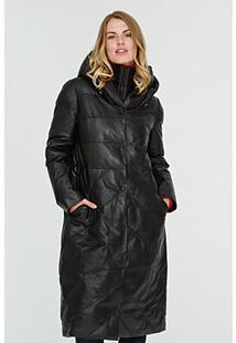 Утепленное кожаное пальто с капюшоном La Reine Blanche 312368