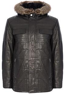 Кожаная куртка с подкладкой из овчины и отделкой мехом енота Jorg Weber 310206