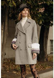 Полушерстяное пальто с отделкой мехом кролика La Reine Blanche 307227