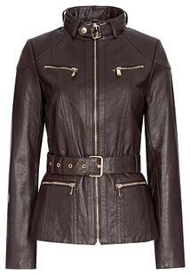 Куртка из натуральной кожи с ремнем La Reine Blanche 304961