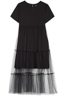 Черное комбинированное платье La Reine Blanche 298144