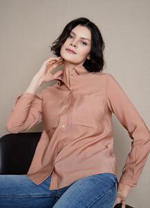 Блузка из тенселя с накладными карманами O`Stin 185288500299