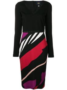 приталенное платье в полоску Cavalli Class 132260635252