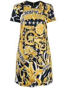 короткое платье с принтом Baroque Versace 142068835248