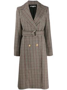 длинное пальто в клетку с поясом Stella Mccartney 144204315248