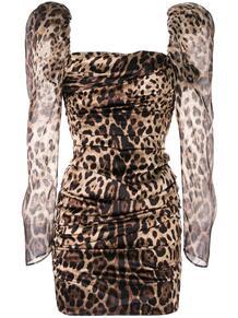 леопардовое платье с объемными плечами Dolce&Gabbana 140883215248