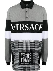 рубашка поло в ломаную клетку с логотипом Versace 158159508883