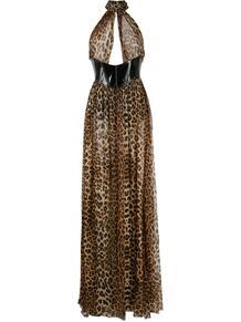платье с вырезом халтер и леопардовым принтом PHILIPP PLEIN 1552984276