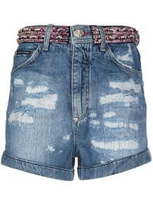 джинсовые шорты со стразами PHILIPP PLEIN 147689195056