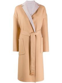 однобортное пальто с поясом Loro Piana 1423369176