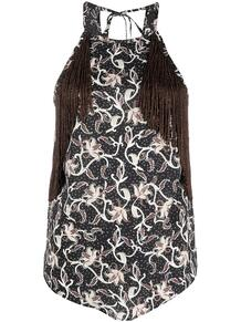блузка с вырезом халтер и бахромой Pinko 161261075248