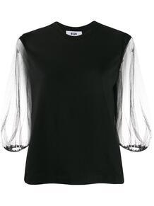 блузка с прозрачными рукавами MSGM 152161238883