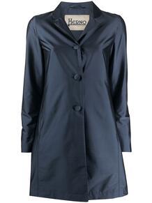 атласное однобортное пальто HERNO 151589315252
