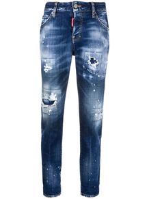 джинсы с эффектом потертости и подворотами Dsquared2 149748615154
