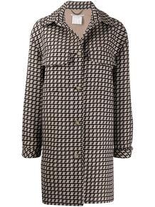 однобортное пальто с узором Stella Mccartney 150365505248