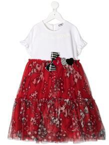 ярусное платье с контрастным верхом Monnalisa 1599406751
