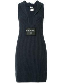 ребристое платье с V-образной горловиной Chanel Pre-Owned 134340915156