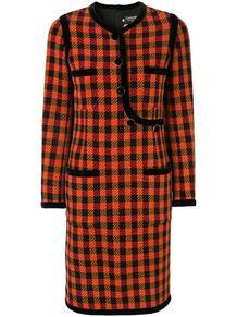 платье в клетку с длинными рукавами и логотипом СС Chanel Pre-Owned 139188565154