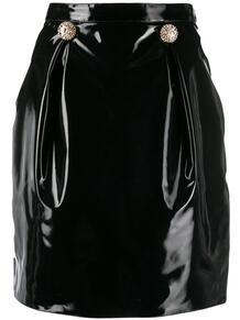 юбка мини из искусственной кожи Versace 141142155250