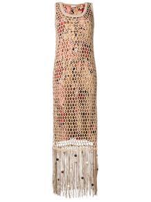 длинное платье с бахромой Salvatore Ferragamo 1380951377