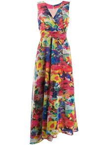 платье с V-образным вырезом и цветочным принтом TALBOT RUNHOF 148650765152