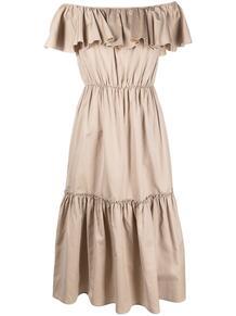 платье с открытыми плечами и оборками FEDERICA TOSI 164174375252