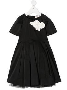 расклешенное платье с цветочной аппликацией Monnalisa 1591701854