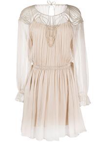 платье с длинными рукавами и прозрачной вставкой ALBERTA FERRETTI 149864875156