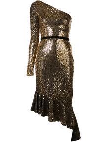 платье асимметричного кроя с длинным рукавом и блестками MarchesaNotte 145639114954