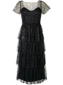 ярусное коктейльное платье с блестками MarchesaNotte 1532543550