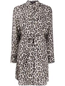 платье-рубашка с леопардовым принтом Theory 1513239276