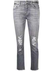 укороченные джинсы с эффектом потертости 7 for all mankind 155494735148
