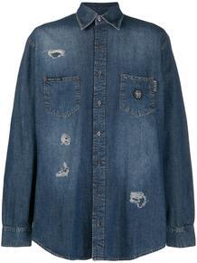 джинсовая рубашка с эффектом потертости и принтом PHILIPP PLEIN 1496752676
