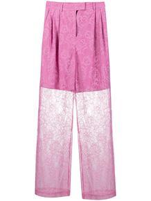 прозрачные брюки с цветочным принтом MSGM 161538495252
